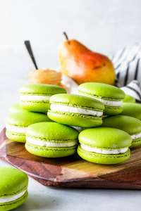 Pear Macarons filled with pear jam filling and buttercream