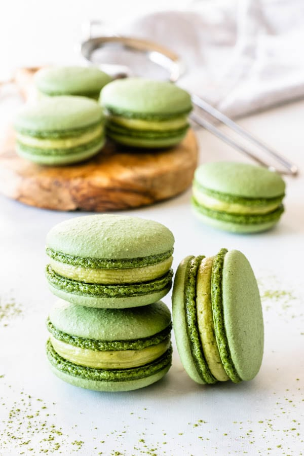 Vegan Matcha Macarons filled with vegan matcha buttercream