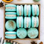 Chai macarons blue macarons