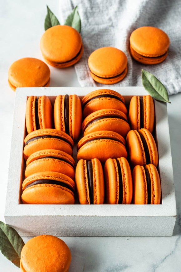 Orange Macarons in a box