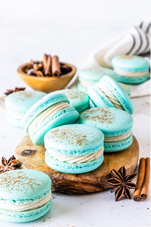 Chai Macarons topped with a dusting of chai spices