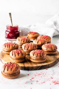 Chocolate Strawberry Macarons