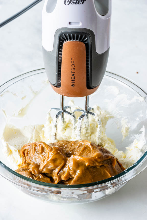 Mixing Cream cheese and Dulce de Leche