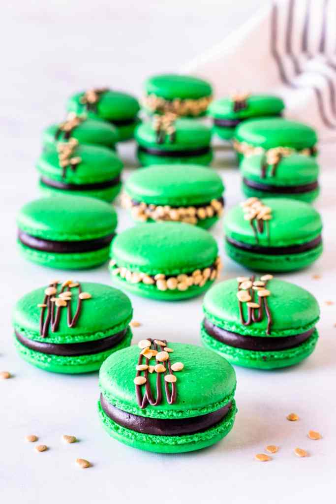 St. Patrick's Macarons green macarons filled with guinness ganache