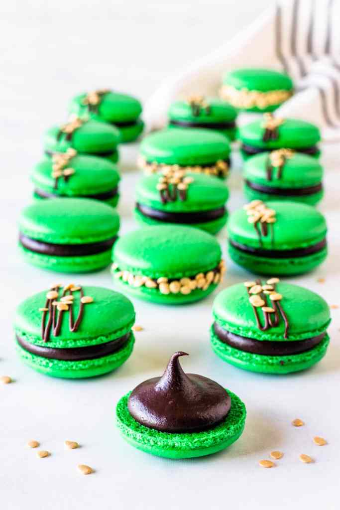 green macarons filled with stout ganache