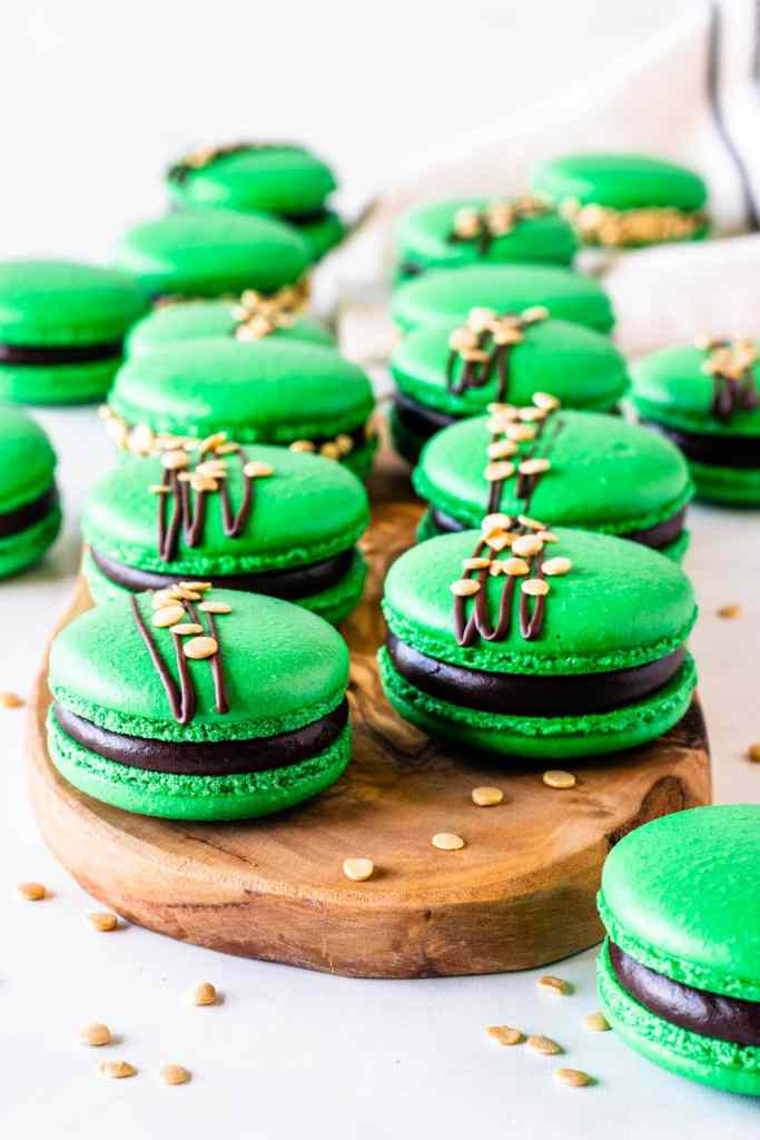 Guinness Macarons with chocolate ganache green shells