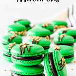 St. Patrick's Macarons green macaron shells filled with guinness ganache