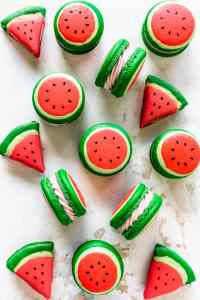 macarons shaped like watermelon seen from the top