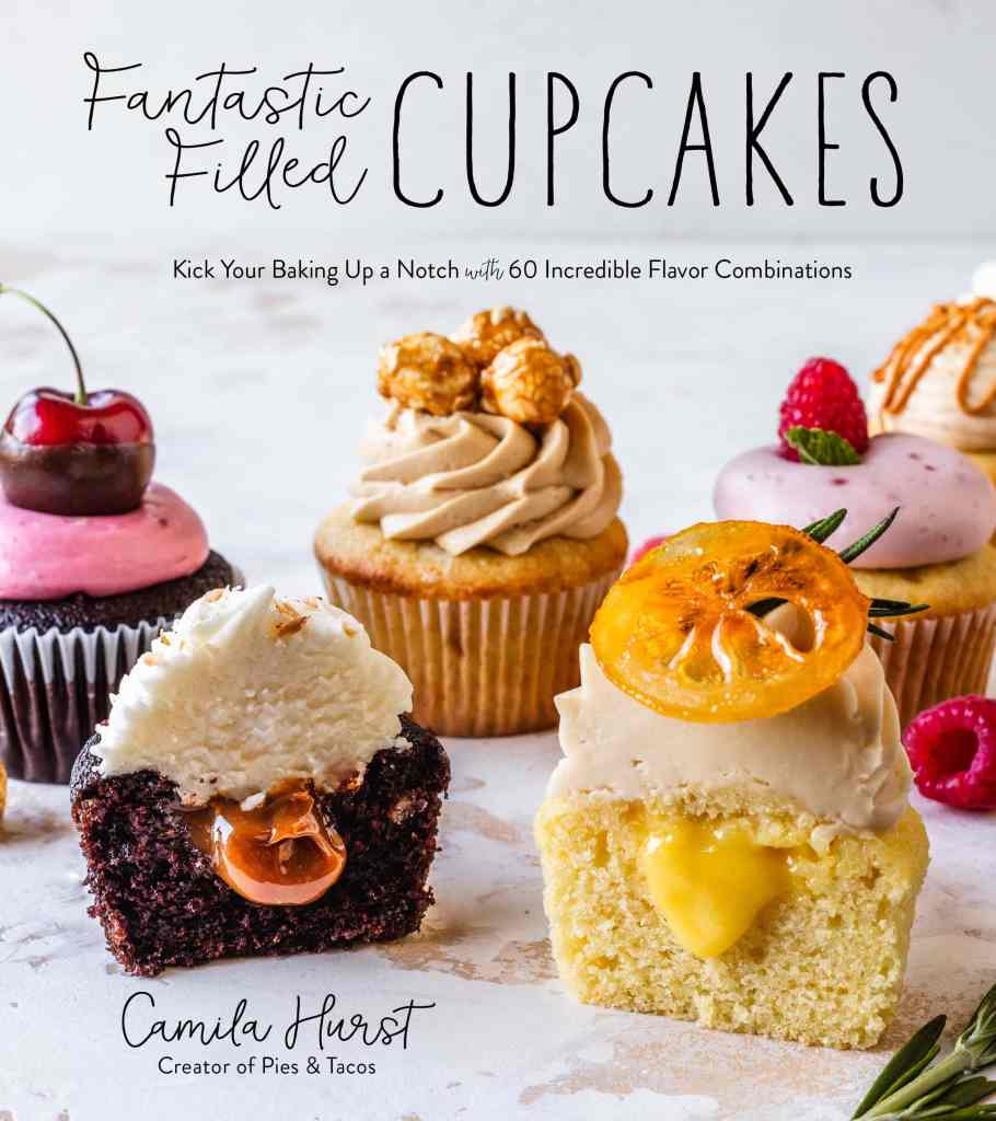 cover of Fantastic Filled Cupcakes book with assortment of cupcakes on the cover