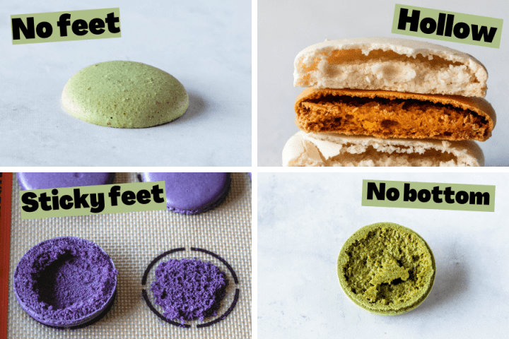 4 pictures showing macarons with issues caused by oven.