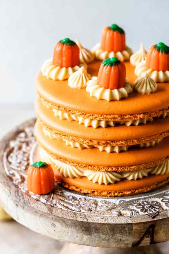 Pumpkin Caramel Macaron Cake.