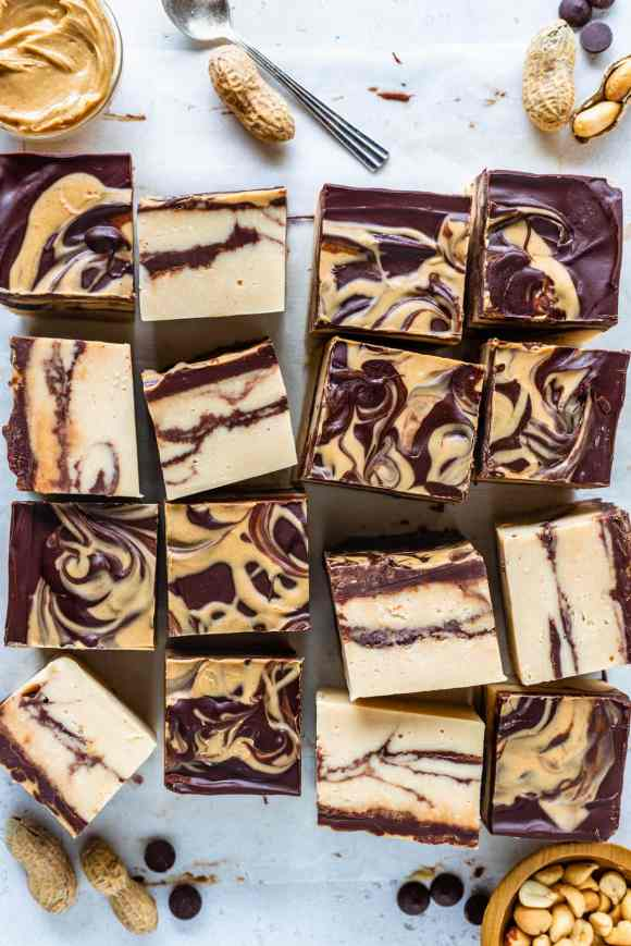 peanut butter fudge sliced in pieces, seen from the top.