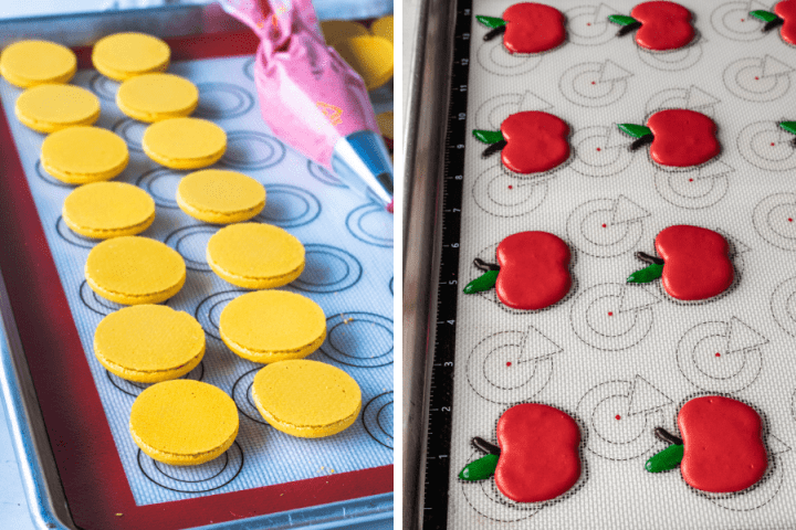 two pictures showing macarons being baked on silicone mat.