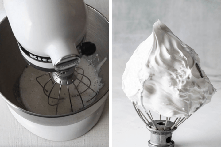 two pictures one on the left is showing a whipped meringue with stiff peaks, and the one on the right shows a kitchenaid mixer.