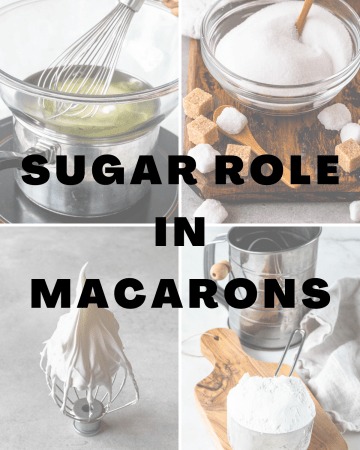 picture with sugar pictures, and the saying: sugar role in macarons.