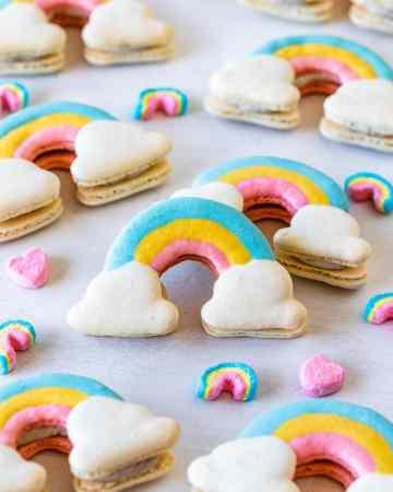 macarons shaped like rainbows.