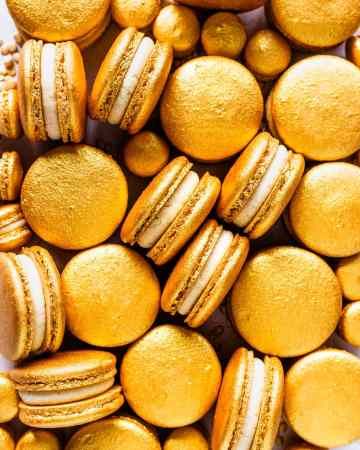 Gold Macarons filled with Baileys Ganache.