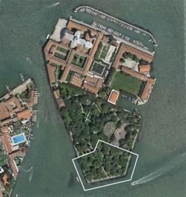 Foto aerea dell'isola di San Giorgio con evidenziata l'area di progetto