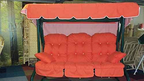 REPLACEMENT CUSHIONS CANOPY FOR 3 SEATER SWING HAMMOCK SEAT IN BURNT ORANGE