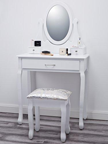 amalfi agtc0009 coiffeuse en bois blanche avec tabouret