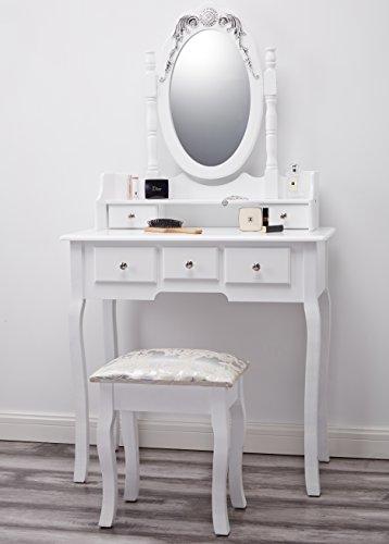 capri agtc0010 chaise pour coiffeuse blanc meuble miroir de chambre a coucher
