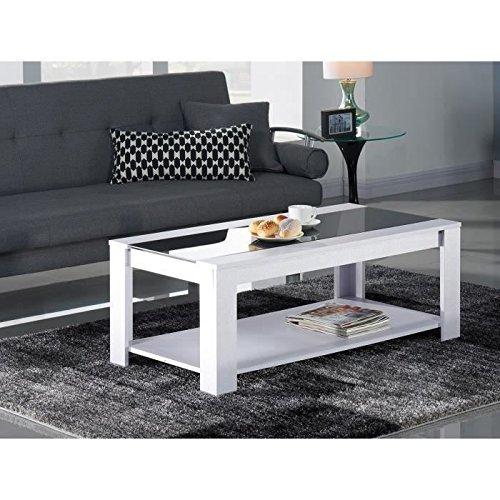 damia table basse 1m10 blanc et noir