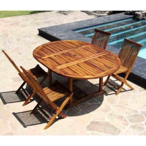 salon de jardin teck huile 4 a 8 personnes table ronde ovale larg 120cm long 120 170cm 4 chaises pliantes