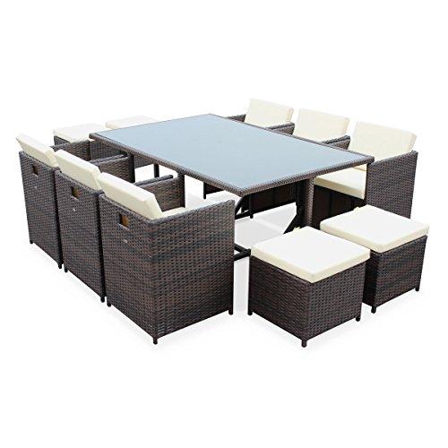 alice s garden salon de jardin 6 10 places vasto coloris chocolat coussins ecrus table encastrable cube