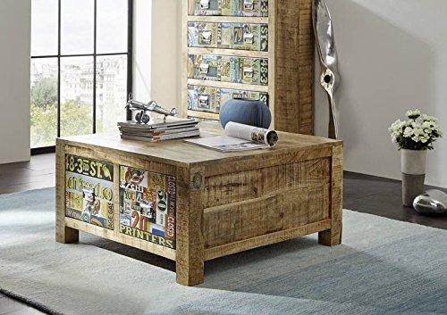 meuble vintage en bois massif de manguier laque 90 x 90 massivmobel table basse en bois massif multicolore detroit 41