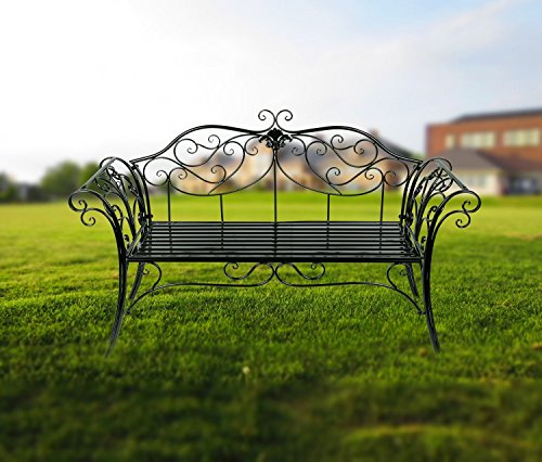 hlc banc jardin en fer forge banquette jardin en fer 133 x 49 x 90 cm