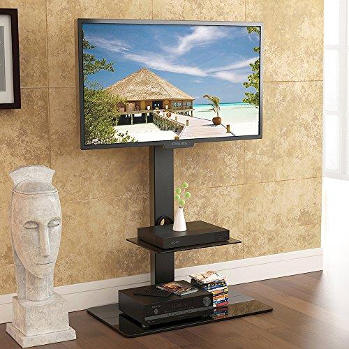 fitueyes meuble tv avec support suspendu pivotant pour ecran tv led lcd 32 65 en verre trempe noir tt207001mb