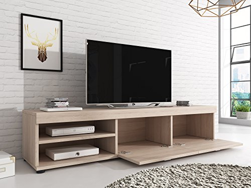 meuble tv armoire support elsa sonoma chene clair effet bois 140 cm
