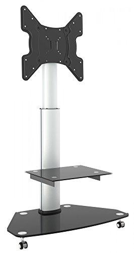 ricoo meuble tv roulettes support sur pied en verre inclinable fs0200 orientable tournant avec roulettes reglable en hauteur tv led ecran plat meuble