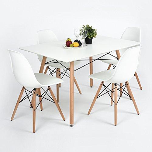 furniturer fauteuil table de salle a manger moderne design retro carre bureau avec pieds en bois blanc
