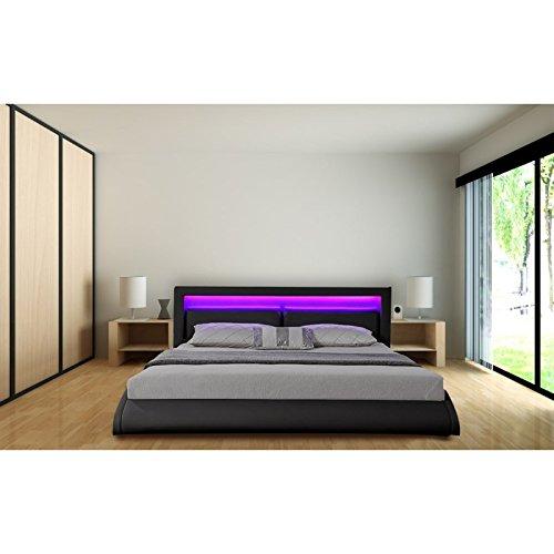 cadre de lit orlean en simili cuir noir 140 x 190 cm avec led integrees avec sommier a lattes l 190 x l 140 x h 84 5