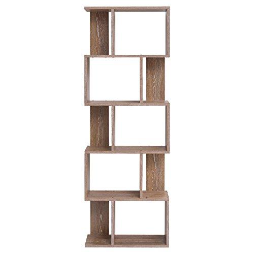 mobili rebecca bibliotheque meuble de rangement 5etageres bois brun design moderne chambre enfant living cod re4789