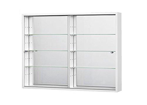 vitrine murale 80x60x11 cm collection miniature blanc avec 6 etageres en verre et miroir