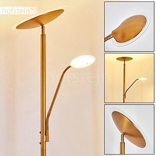 lampadaire led matsi en metal de couleur bronze lampe sur pied avec spot et liseuse a intensite variable luminaire pour salon sejour chambre a