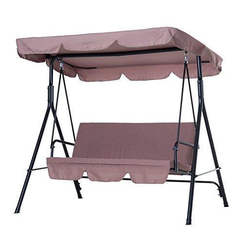 balancelle de jardin 3 places toit impermeabilise inclinaison reglable coussins assise et dossier 1 72l x 1 1l x 1 52h m acier polyester