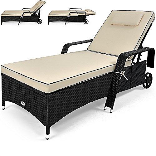chaise longue pour jardin coussin 7cm lit de bain polyrotin transat creme beige