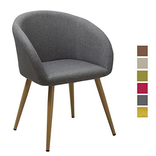 chaise salle a manger en tissu lin gris design retro chaise scandinave avec pieds en metal