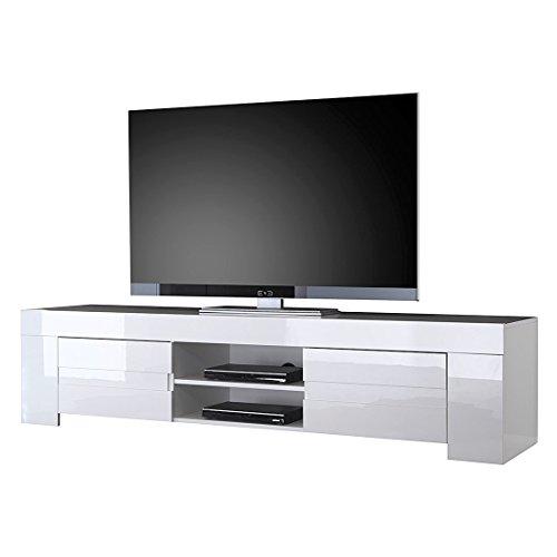 lc spa meuble tv avec eos grande avec 2 portes blanc brillant 190 x 45 x 50 cm