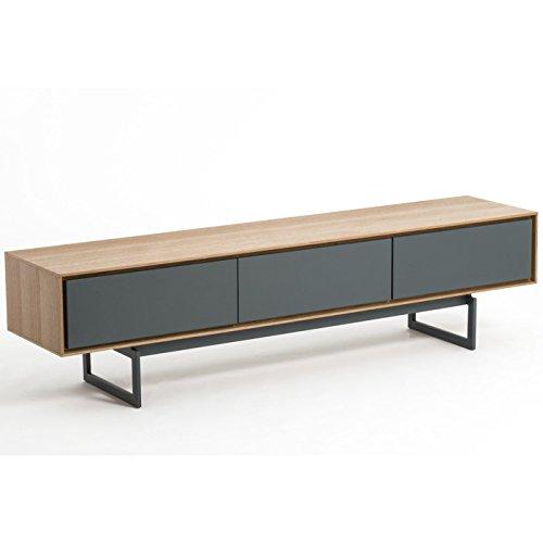 meuble tv design valeo chene et gris 180 cm tiroirs systeme push pull