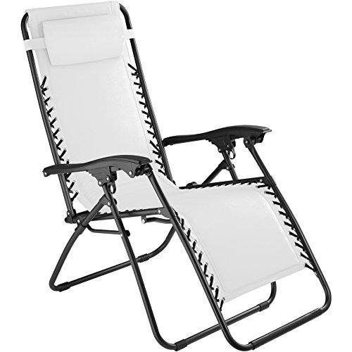 tectake 800583 chaise longue toile tendue pliable avec rembourrage de tete amovible charge max 110 kg diverses couleurs