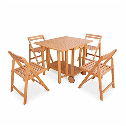 alice s garden salon de jardin en bois pliable merida table 100 45cm 4 chaises en bois d eucalyptus fsc huile