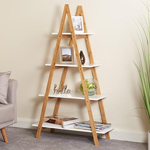 hartleys bibliotheque echelle blanche et bambou a 4 niveaux
