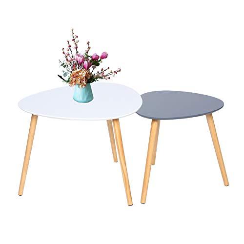 table basse ensemble de 2 tables d appoint gigognes scandinaves table d appoint triangulaire moderne pour balcon de salon blanc et gris