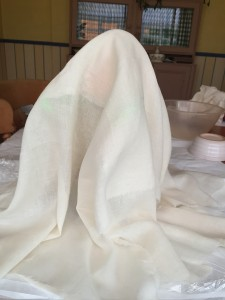 Drape muslin over the form