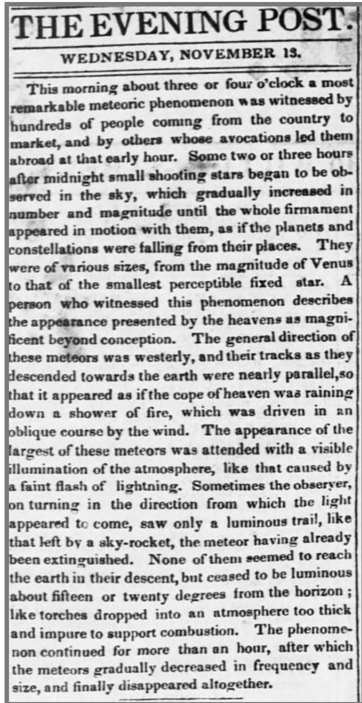 The 1833 meteor storm as reported by the New York Evening Post. Credit:  Newspapers.com