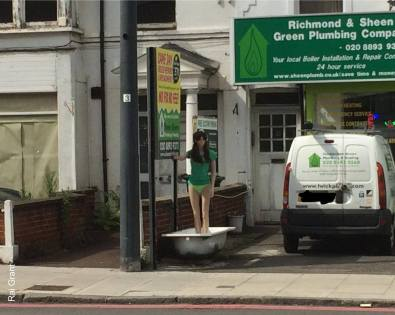I know sex sells but if you need a half naked mannequin standing in a bathtub to sell plumbing your struggling.